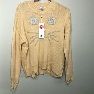 Wildfox Sweaters - NWT Wildfox Whiskers Distressed Cat Sweater // O33